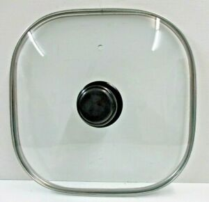 """LID ONLY for Rival 11"""" Square Glass Lid with Stainless Steel Trim Preowned"""