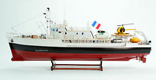 """RV Calypso Minesweeper Research Vessel Handmade Wooden Ship Model 38"""" RC Ready"""