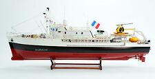 "RV Calypso Research Vessel Handmade Wooden Ship Model 38"" RC Ready"