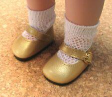 """Doll Shoes, 64mm GOLD Elegant Ankle Strap, fits 16"""" Kish, MSDs"""