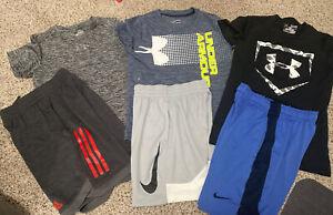 Under Armour Nike Adidas Boys Shorts & Shirts Sz Small Lot of 6 EUC!