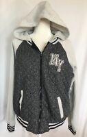 NYC New York Women's Large Fleece Jacket Full Zip Grey Black Quilted Hoodie Coat