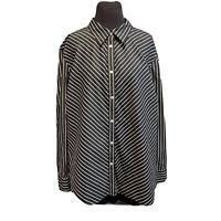 Chaps Womens Long Sleeve Cotton Button Down Blouse Black White Plus Sz 3X Stripe
