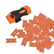 1 Scraper + 100 Pcs Plastic Double Edged Razor Blade Sticker Adhesive Glue Clean
