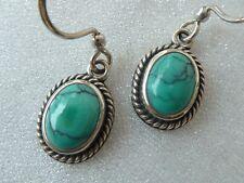 Vintage Sterling Earrings 8 X 6mm  Turquoise Cabochons, Konder #1093