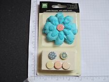 JUMBO BLOSSOMS ~ AQUA BLUE ~FUNKY FLOWER   w/PEBBLE BRADS~ Making Memories