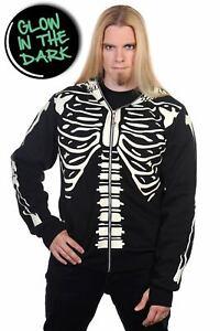 Men's Gothic Glow in the Dark Skeleton Rib Cage Halloween Hoodie BANNED Apparel