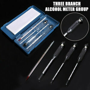 0-100% Hydrometer Alcoholmeter Spirit Alcohol Meter Tester Set with Thermometer