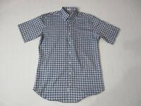 Peter Millar Button Up Shirt Adult Medium Blue Black Plaid Camp Casual Mens