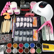 Acrylic Nail Starter Kit Acrylic Powder Liquid Tool Brush Tips Diy Art Design Us