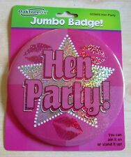 Jumbo HEN PARTY BADGE | 15cm | Pink Holograph | Pink Lips | Hen Night Bride To B