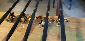 Set of 5 Custom Power Stick fishing rod and Penn 850ss reel combo.  Excl Cond.