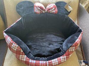 Disney Mickey Mouse Minnie Red Black Pet Bed soft Tartan Animal small Dog Cat