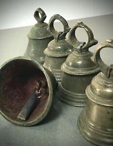 HINDU TEMPLE BELL. GHANTA. ANTIQUE INDIAN / VINTAGE. OM. RAJASTHAN. 13 cms HIGH