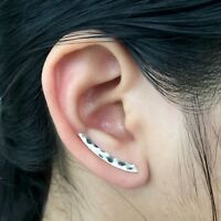 925 Solid Sterling Silver Ear Climber Earrings Geometric Hammered Cuff Crawler