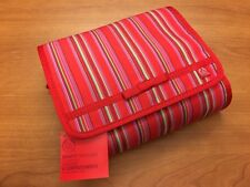 The Body Shop Travel Beauty Cosmetic Makeup Bag Organizer, Red Pink Stripped