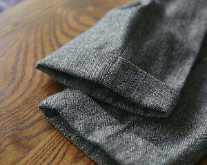 Men's autumn/winter vintage woolen herringbone tweed business trousers Unbranded