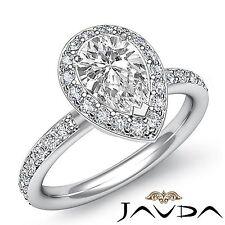 Glistening Pear Diamond Engagement Halo Pre-Set Ring GIA I SI1 Platinum 2.05ct