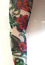 Red Rose Nylon Slip on  Elastic Stocking Fake Arm Temporary Tattoo Sleeves
