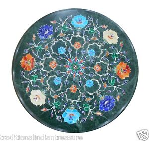 """18"""" Green Marble Coffee Table Top Inlay Lapis Turquoise Hakik Marquetry Decor"""