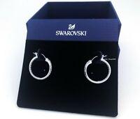 New Authentic SWAROVSKI Rhodium White Crystal Sommerset Hoop Earrings 1172374