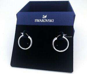 New Authentic SWAROVSKI Rhodium White Crystal Sommerset Hoop Earrings 1172374