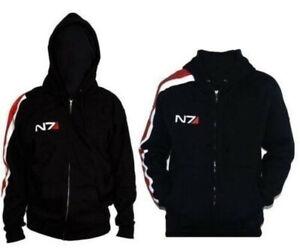 Mass Effect John·Shepard N7 Cosplay Black Zipper Jacket Coat Hoodie Fashion