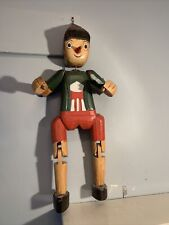 Vintage Mid Century Large 2ft High Pinocchio Hand Carved Wooden Figure -