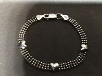 VTG Italy 925 Sterling Silver 3-Row Bead & Hearts Bracelet w Lobster Clasp 7""