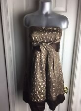 BCBG Maxazria WOOL/SILK STRAPLESS DRESS -POCKETS- ANIMAL PRINT- Size 08