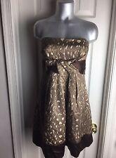 BCBG Maxazria WOOL/SILK STRAPLESS DRESS -POCKETS- ANIMAL PRINT- Size 08