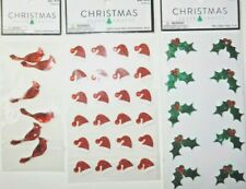 CHRISTMAS IN JULY: CARDINALS GEMS, HOLLY, SANTA HATS  3 PACKAGES