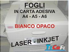Carta ADESIVA A4 BIANCA OPACO * stampa laser inkjet fotocopie A4 * 20 fogli