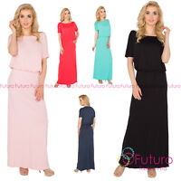 Womens Maxi Dress Boat Neck Short Sleeve Long Loose Bodycon Sizes 8-14 8207