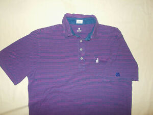 JOHNNIE-O SHORT SLEEVE PURPLE STRIPED POLO SHIRT MENS LARGE EXCELLENT CONDITION
