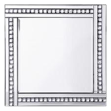 Triple Bar Square Mirror in Silver W/ Crystal Effect Glass Home Decor Litecraft