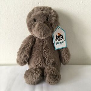 """Jellycat Small Bashful Gorilla Grey / Brown Beanie Plush Soft Toy With Tags H 8"""""""