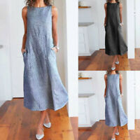 Fashion Women Casual Striped Sleeveless Dress Crew Neck Linen Pocket Long Dress