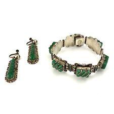 Vintage Mexican Green Stone Sterling Silver Art Deco Bracelet & Earrings Set