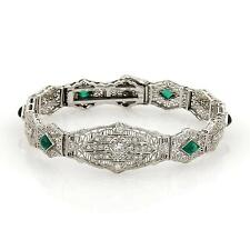 Art Deco  Diamond & Gems 14 White Gold Filigree Bracelet