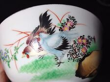 "Vintage Vivid Chinese chicken Bowl D 4 4/5""  H 2 3/10"""