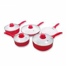 NEW Design High Quality 9-pieces Ceramic Pan Set (Red)