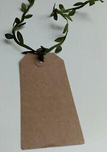 WEDDING FAVOUR TAGS 10pk Botanical Leaf Brown Kraft Name Place Card Table Decor
