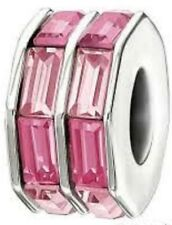 AUTHENTIC CHAMILIA STERLING SILVER DOUBLE BAGUETTE PINK SWAROVSKI NEW 2083-0399