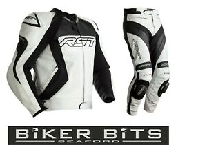 RST TRACTECH EVO 4 White/Black 2020 Motorcycle CE Leather Jacket/Trousers 2PC