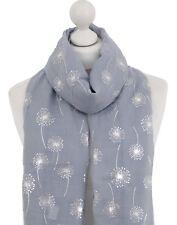 Grey Dandelion Scarf Silver Print Metallic Dandelions Ladies Spring Summer Wrap