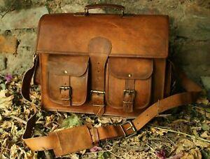 """Vintage Handmade Genuine Leather Laptop Messenger Bag Briefcase Shoulder Bag 15"""""""