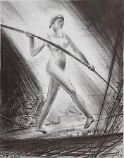 KENNETH HARTWELL-NY/MA Modernist-Hand Signed Lim.Ed Litho-Trapeze Artist
