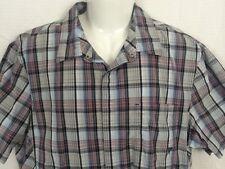 Vurt Mens Pearl Snap Shirt Size XL Plaid Western Rockabilly Cowboy Short Sleeve