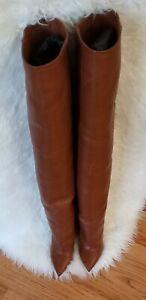 🆕️ Authentic SAINT LAURENT Niki Cognac Leather Over the Knee Boots Sz 35.5